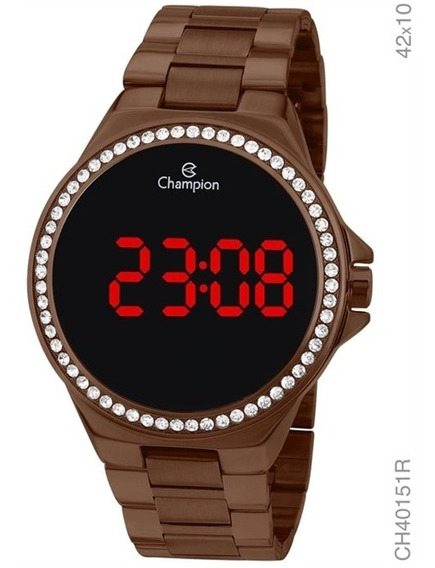 Relógio Champion Digital Led Marrom Feminino Ch40151r