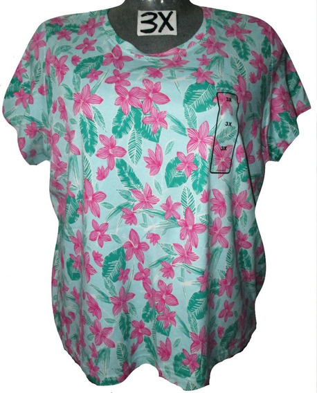 Blusa Verde Menta Flores Rosas Talla 3x (42/44) Basic Editi