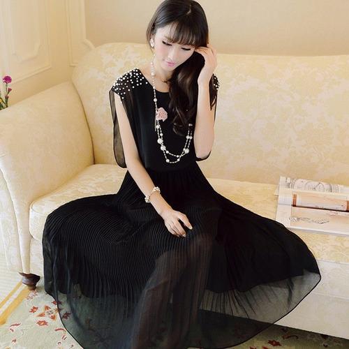 Vestido Talla M De Gasa Plisada Con Perlas Importado Stock