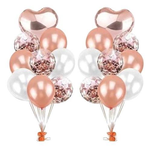 Set 9 Globos Corazon Metalizado Transparente Confetti Rose