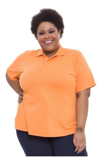 Camiseta Gola Polo Plus Size Wonder Size Laranja
