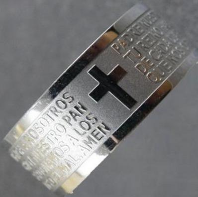 Kit Com 2 Anéis Oração De Aço Inoxidável