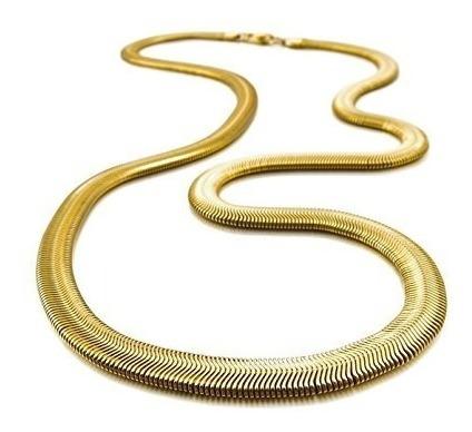 Corrente Lacraia 58cm Aço Cirúrgico Cordão Escama Cobra 6mm