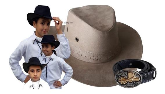 Chapéu Cowboy Country Unissex 9 A 15 Anos + Cinto Fivela