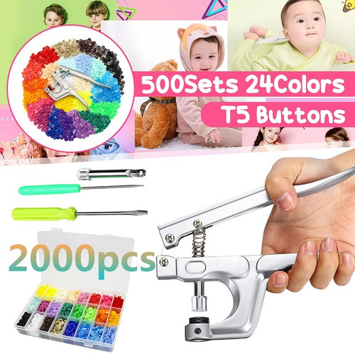 Diy Ropa 2000 Unids 500sets 24colors T5 Plástico Broche De R