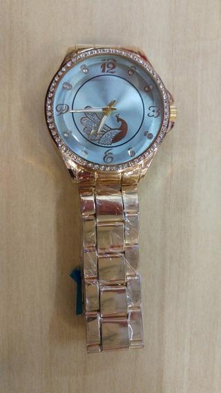 Relógio Feminino Com Desenho De Pavão E Strass