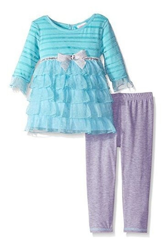 Imagen 1 de 2 de Youngland Little Girls Stripe To Chiffon Vestido Con Gradas