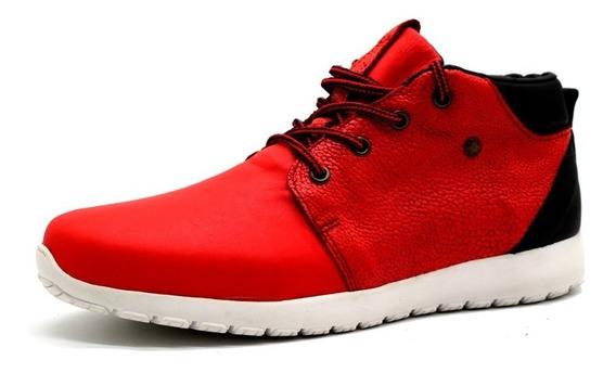 Zapatillas Panchas Cuero Hombre Urbana Rojo Leblu 9013