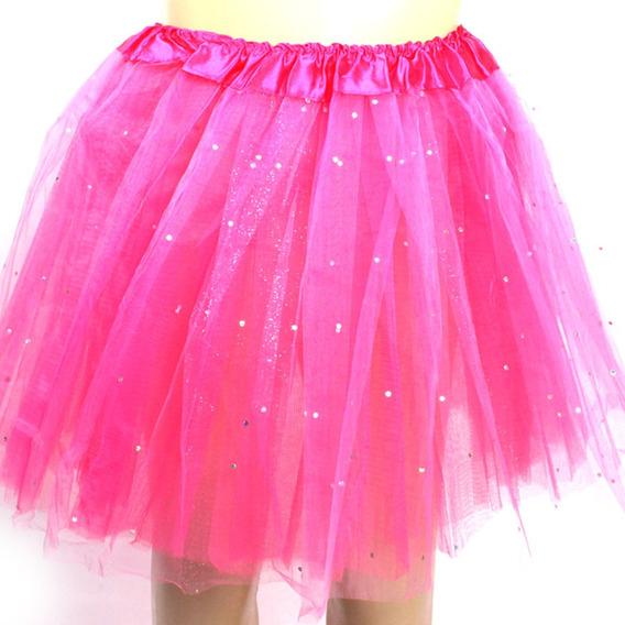 Saia De Tule Adulto Com Brilho Glitter Carnaval 40cm Rosa
