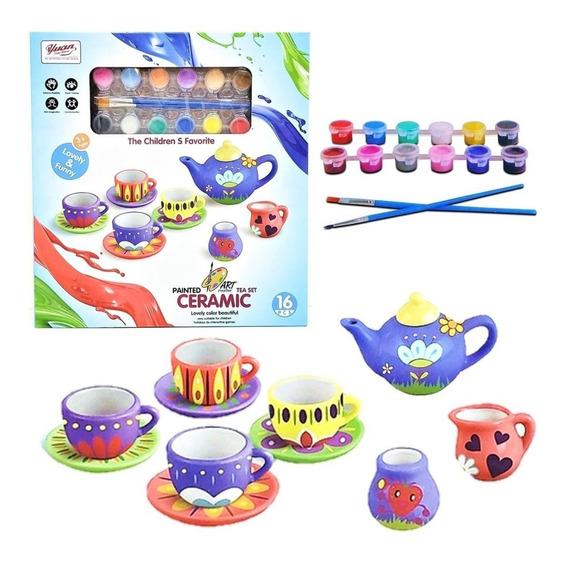 Juego De Te Ceramica De Nenas Para Pintar Jlt 555-diy002