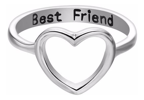Kit 2 Anel Coração Amor Best Friend (melhor Amiga) Prata 17
