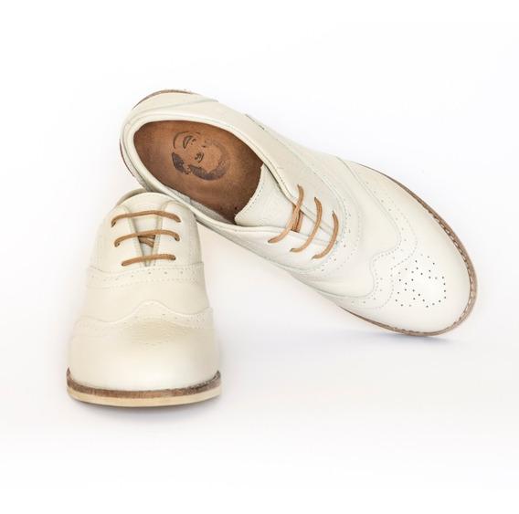 Zapato Justicialistas 1947 Mujer Cuero (eva Perón) Manteca