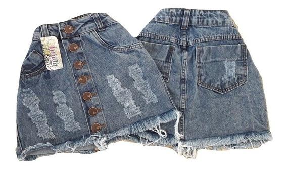 3 Saias Jeans Femininos Detonadas Luxo Cintura Alta Hot Pant