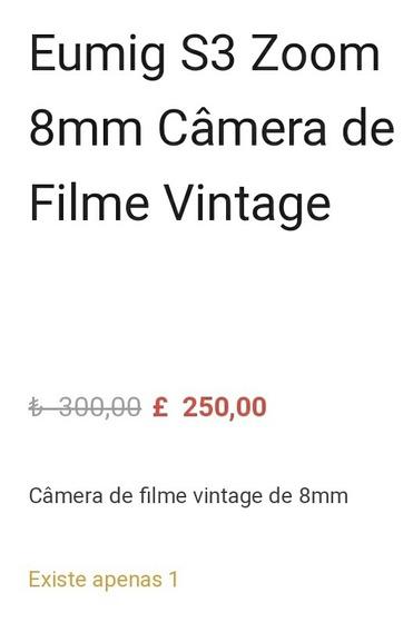 Eumig S3 Zoom 8mm Câmera Filme Vintage