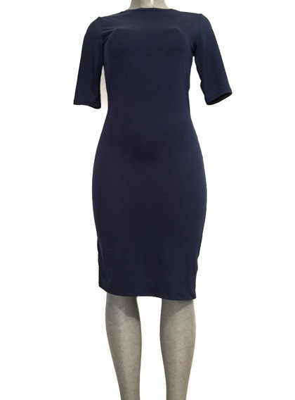 Vestido Azul Marino Ajustable Stretch Sexy Elegante Chanel