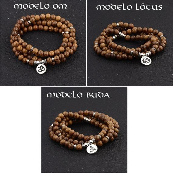 Colar Bracelete Tipo Japamala 108 Contas Maderia C/ Berloque
