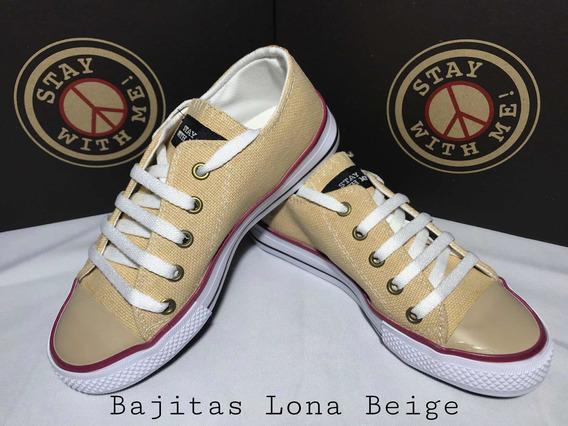 Zapatillas Stay With Me! Bajitas Lona Beige Textura
