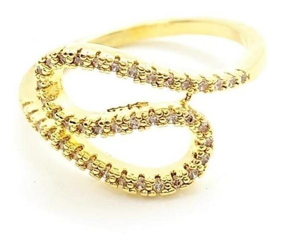 Anel Cravejado Zirconias Formato S Banho Ouro 18k 3262