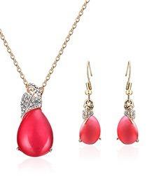 Collar Y Aretes Gota Roja Decorado Con Zirconias