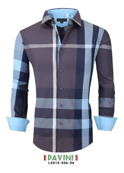 Camisa Caballero Manga Larga Marca Pavini Ls019-6-6 Blue