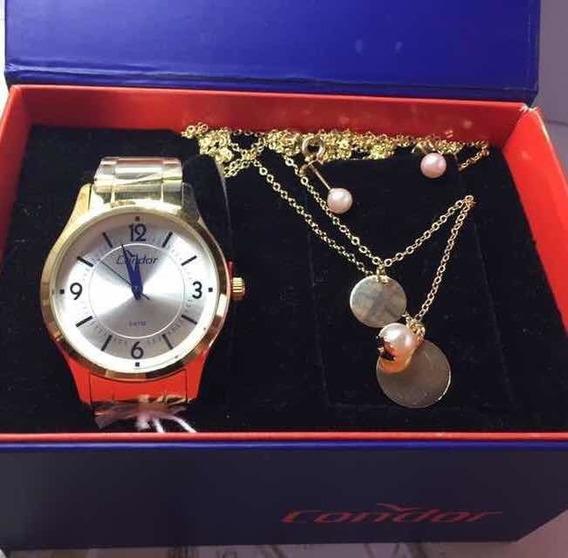 Relógio Condor Feminino Kit Semijoia Coal2036cn/4k Dourado