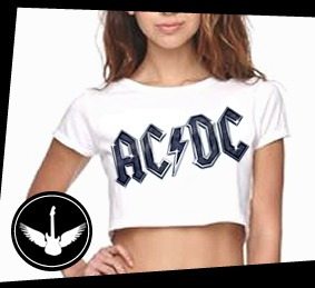 Blusa Cropped Ac/dc Logo Banda Rock Camisa Feminina