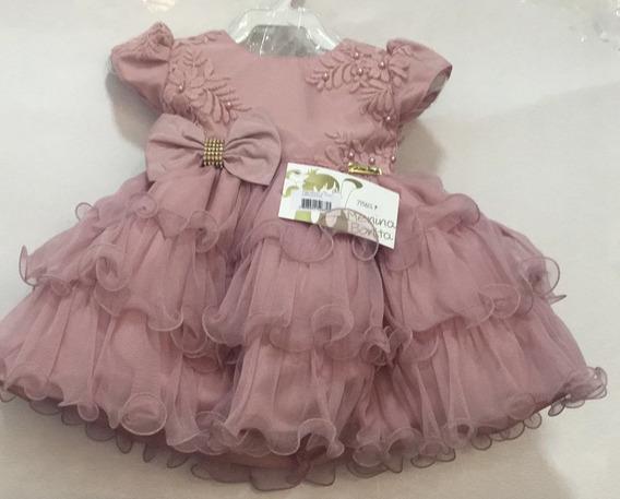 Vestido Baby Festa Luxo Bebê Rosa Nude