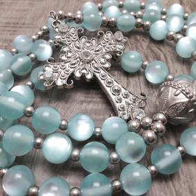 Terço Rosário Católico Longo - Noiva - Azul(artesanal)