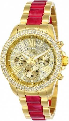 Relógio Invicta Angel Feminino 24126 Banhado Ouro Original