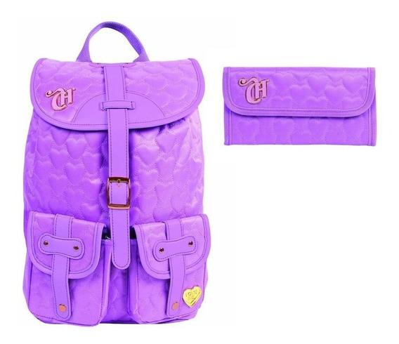 Kit Mochila Escolar Capricho Love Purple + Carteira Feminina