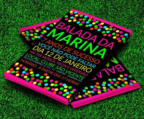 Imagem 1 de 5 de Convite Festa Neon Balada Colors 21x15cm - 10 Unidades