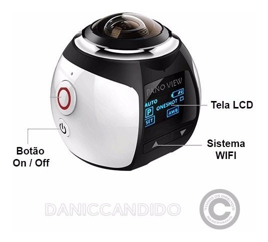 Mini Cãmera 360° + Cartão Sd 64 Gb + Óculos Vr Max 3d
