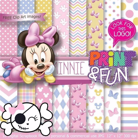 Kit Imprimible Fondos Minnie Baby Bebe Shower Rosa 3x1