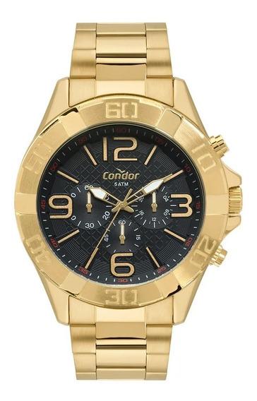 Relógio Masculino Dourado Ouro Condor 18k À Prova Dágua
