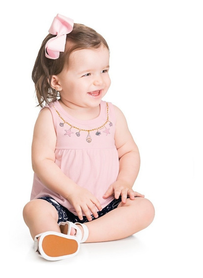 Roupa Bebê Conj Menina Regata E Bermuda Alakazoo-tam. P E M