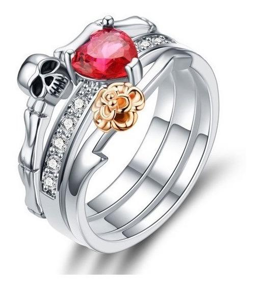 2 Aneis Feminino Caveira Rosa Dourada Strass Coração Ju Uva