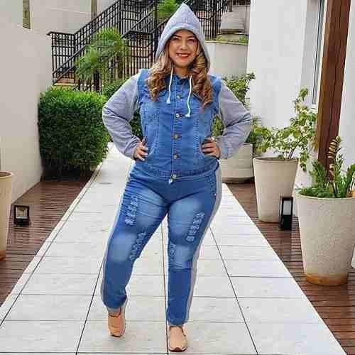 Conjunto De Calça Jeans Com Moletom Jaqueta Capuz Plus Size