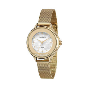 Mondaine Relógio Malha De Aço Madrepérola Dourado