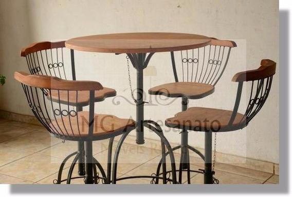 Mesa Para Sala De Estar Bistro/rustica Com 4 Cadeiras Luxo