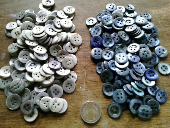 Lote 200 Botones De Nácar Antiguos Azul Gris