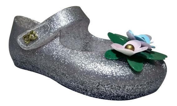 Sandalia Peep Toe Confeti Menina Cinza/rosa