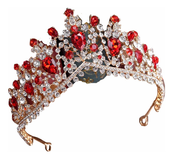 Corona Roja Rojo Tiara Princesa Xv Años 15 Años Quinceaños 1