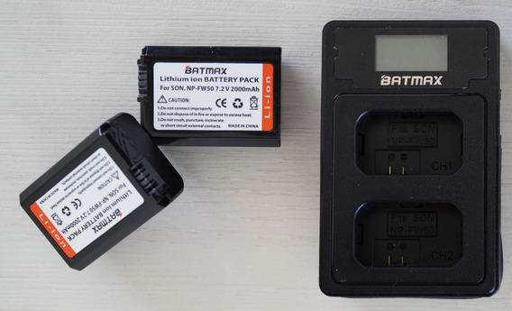Carregador Duplo +2x Bateria Fw50 Sony A7s A7ii A6500