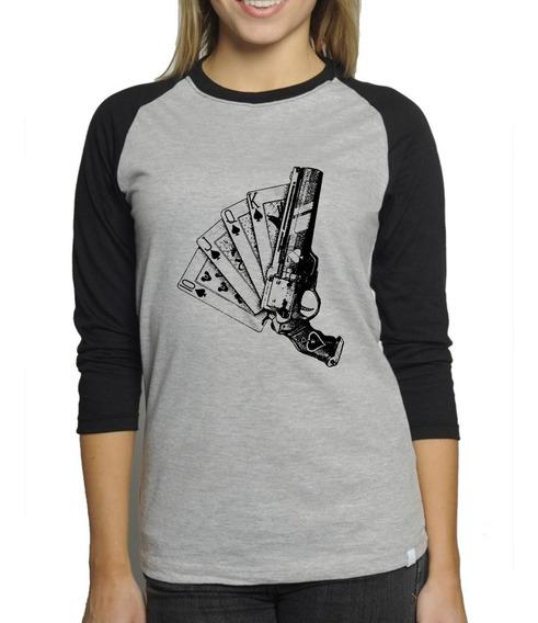 Camiseta Destiny 2 As De Espada Mescla Babylook 3/4