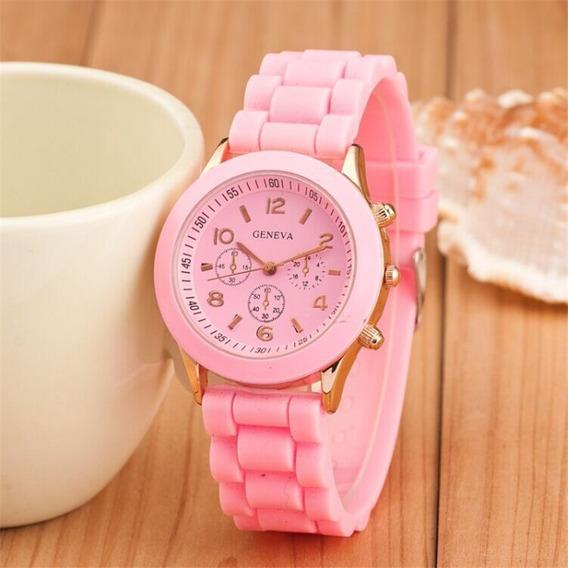 Relógio Feminino Casual Esporte Silicone Rosa