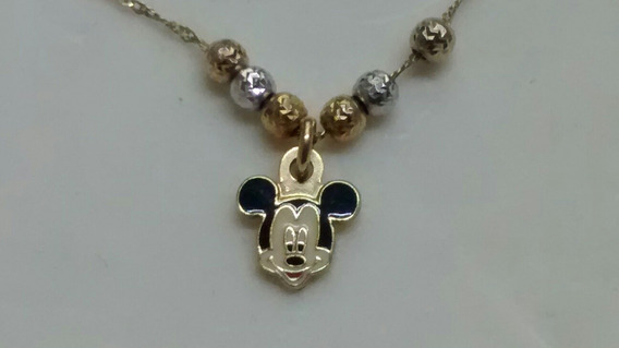Cadena 3 Oros 14 Kts Aritos De La Suerte Micky Mouse