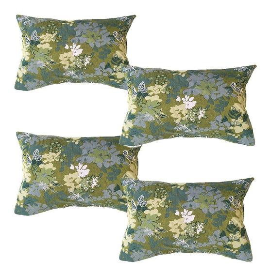 4 Cojines Decorativos Rec Flores Verdes Para Salas Recamaras