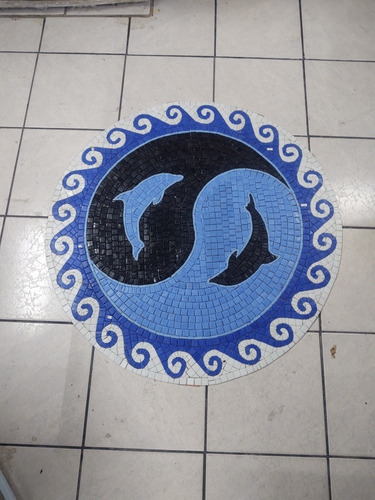 Imagen 1 de 4 de Mosaico Figuras Medallon Olas Luminiscent P/ Alberca 1.00 Mt