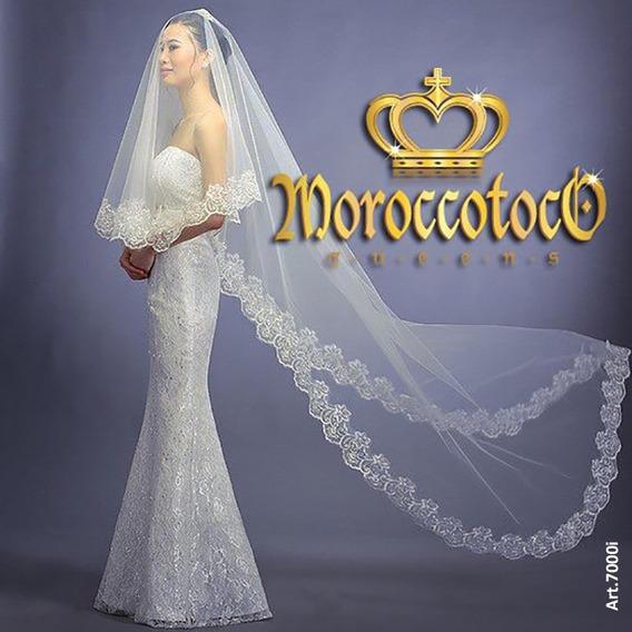 Velo De Novia Tull Bordado Blanco Ivory Importado Art 7000