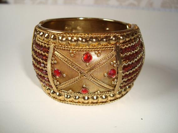 Pulseira Bracelete Oval Metal Dourado Mola 4 Cm Indiana